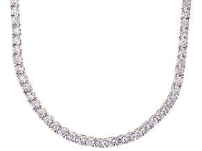 Bella Luce® 40.81ctw Round Diamond Simulant Rhodium Over Silver Tennis Necklace