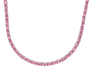 Bella Luce® 46.72ctw Pink Diamond Simulant Rhodium Over Silver Tennis Necklace