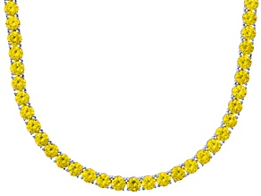 Bella Luce® 90.28ctw Round Yellow Diamond Simulant Rhodium Over Silver Necklace