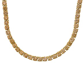 Bella Luce® 90.28ctw Champagne Diamond Simulant Rhodium Over Silver Necklace