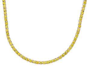 Bella Luce® 40.81ctw Round Yellow Diamond Simulant Rhodium Over Silver Necklace
