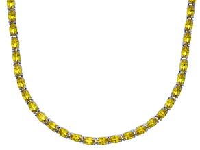 Bella Luce® 23.24ctw Oval Yellow Diamond Simulant Rhodium Over Silver Necklace