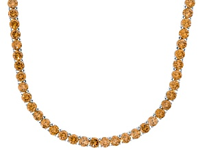 Bella Luce® 90.28ctw Champagne Diamond Simulant 18k Gold Over Silver Necklace