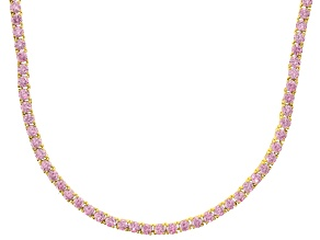 Bella Luce® 40.81ctw Round Pink Diamond Simulant 18k Gold Over Silver Necklace