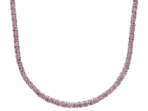 Bella Luce® 20.02ctw Round Pink Diamond Simulant Rhodium Over Silver Necklace