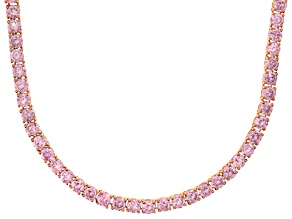 Bella Luce® 20.02ctw Round Pink Diamond Simulant 18k Gold Over Silver Necklace