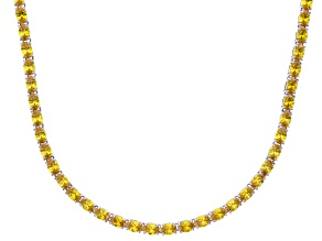Bella Luce® 46.72ctw Oval Yellow Diamond Simulant Rhodium Over Silver Necklace