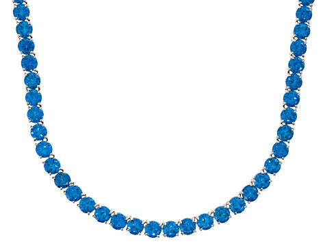 Bella Luce® 90.28ctw Round Apatite Simulant Rhodium Over Silver Tennis Necklace