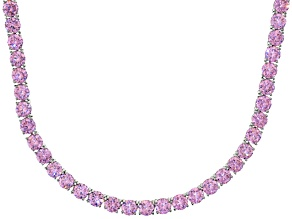 Bella Luce® 90.28ctw Round Pink Diamond Simulant Rhodium Over Silver Necklace