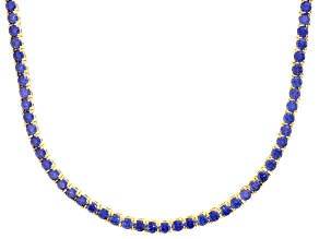 Bella Luce® 40.81ctw Round Tanzanite Simulant 18k Gold Over Silver Necklace