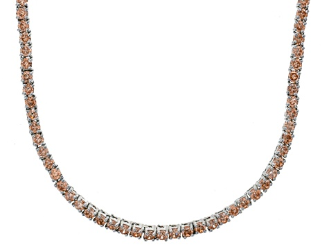Bella Luce® 20.02ctw Champagne Diamond Simulant Rhodium Over Silver Necklace