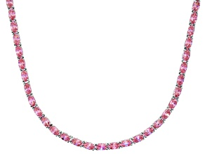 Bella Luce® 23.24ctw Oval Pink Diamond Simulant Rhodium Over Silver Necklace