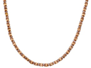 Bella Luce® 46.72ctw Champagne Diamond Simulant Rhodium Over Silver Necklace