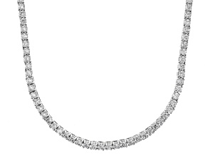 Bella Luce® 20.02ctw Round Diamond Simulant Rhodium Over Silver Tennis Necklace