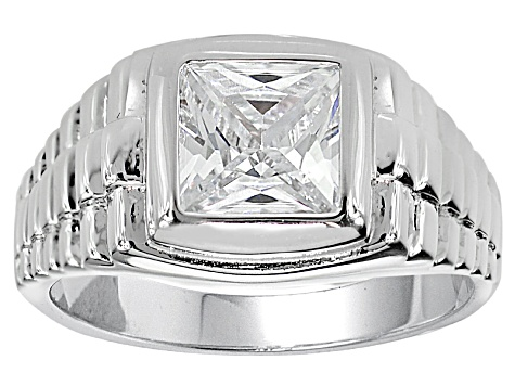Bella Luce® 3.65ctw White Diamond Simulant Rhodium Over Silver Gents Ring
