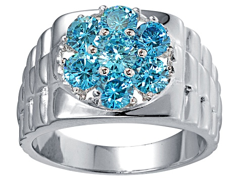 Bella Luce ® Esotica ™ 3.52ctw Apatite Diamond Simulants Rhodium Over Silver Gents Ring