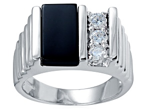 Bella Luce® Diamond Simulant & Black Onyx Rhodium Over Silver Gents Ring