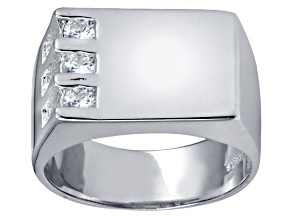 Bella Luce® .63ctw Round White Diamond Simulant Rhodium Over Silver Gents Ring