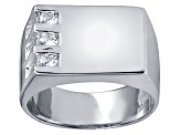 Bella Luce® .63ctw Round White Diamond Simulant Rhodium Over Silver Mens Ring