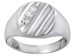 Bella Luce® .29ctw Round White Diamond Simulant Rhodium Over Silver Gents Ring