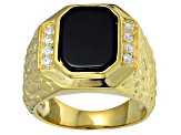 Bella Luce® Diamond Simulant & Black Onyx 18k Gold Over Silver Gents Ring