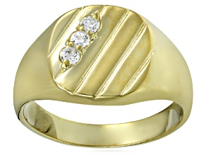 Bella Luce® .29ctw Diamond Simulant 18k Yellow Gold Over Silver Gents Ring