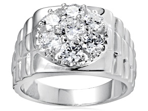 Bella Luce® Round White Diamond Simulant Rhodium Over Silver Gents Ring