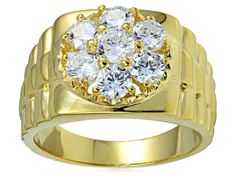 Bella Luce® 3.52ctw Diamond Simulant 18k Yellow Gold Over Silver Mens Ring