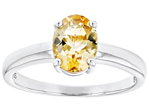 Yellow Brazilan Citrine Rhodium Over Sterling Silver November Birthstone Ring 0.94ct
