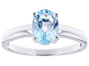 Sky Blue Topaz Rhodium Over Sterling Silver December Birthstone Ring 1.23ct