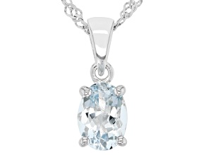 Blue Aquamarine Rhodium Over Sterling Silver March Birthstone Pendant With Chain 0.85ct