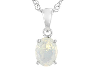 Multicolor Ethiopian Opal Rhodium Over Sterling Silver October Birthstone Pendant With Chain 0.55ct