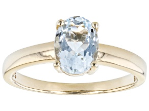 Blue Aquamarine 18k Yellow Gold Over Sterling Silver March Birthstone Ring 0.85ct