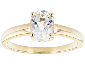 White Topaz 18k Yellow Gold Over Sterling Silver April  Birthstone Ring 1.28ct