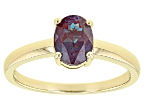 Blue Lab Created Alexandrite 18k Yellow  Gold Over Sterling Silver June Birthstone Ring 1.23ct