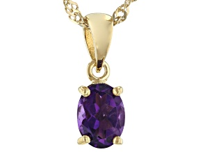 Purple Amethyst 18K Yellow Gold Over Sterling Silver Birthstone Pendant With Chain 0.98ct