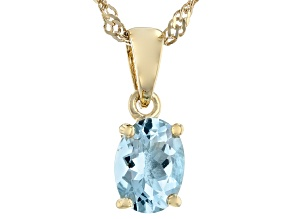 Blue Aquamarine 18k Yellow Gold Over Sterling Silver March Birthstone Pendant With Chain 0.85ct