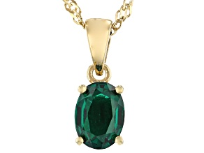 Green Lab Created Emerald 18k Yellow Gold Over  Silver May Birthstone Pendant With Chain 0.95ct