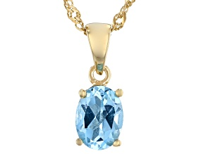 Sky Blue Topaz 18K Yellow Gold Over Silver December Birthstone Pendant Chain 1.23ct