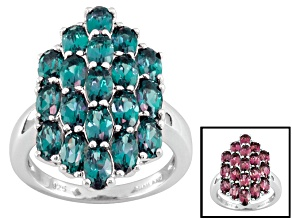 Lab Created Color Change Alexandrite Sterling Silver Ring 5.25ctw