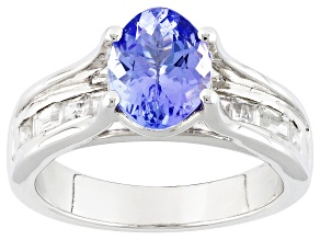 Blue Tanzanite And White Zircon Sterling Silver Ring 2.83ctw