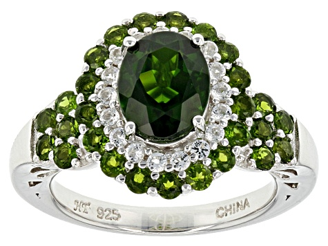 Green Chrome Diopside Sterling Silver Ring 3.37ctw
