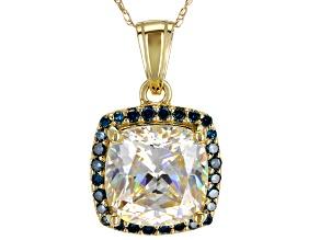 White Fabulite Strontium Titanate With Blue and White diamond 10k Yellow Gold Pendant 5.04ctw