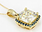 White Fabulite Strontium Titanate With Blue and White diamond 10k Yellow Gold Pendant 5.04ctw