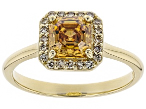 Champagne Fabulite Strontium Titanate And Champagne Diamond 10k Yellow Gold Ring 1.59ctw
