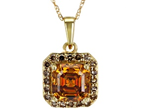 Champagne Fabulite Strontium Titanate And Champagne Diamond 10k Gold Pendant With Chain 1.59ctw