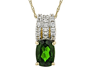 Green Chrome Diopside 10kGold Pendant With Chain .77ctw