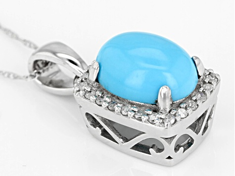 Blue Sleeping Beauty Turquoise Rhodium Over 10K White Gold Pendant With Chain .10ctw
