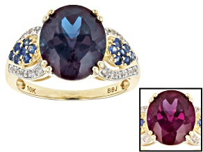 Blue Lab Created Alexandrite 10k Yellow Gold Ring 5.28ctw
