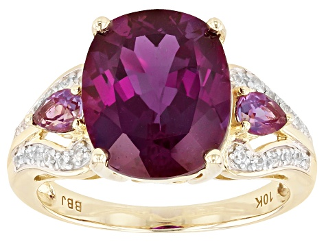 Blue Lab Created Alexandrite 10k Yellow Gold Ring 5.87ctw
